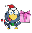 Christmas penguin holding a present and candy cane vector