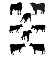 From a series silhouettes animals cow vector