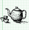 Sketch drawing of teapot with cup graph paper vector