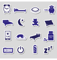 Sleeping time blue stickers symbols set eps10 vector