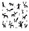 Siberia primitive painting set vector