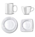 Set of cups and plates vector