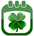 Icon st patrick day in a calendar with shamrock vector