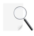 Magnifying glass and sheet of paper vector