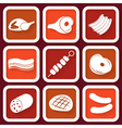 Set of 9 retro icons with meat vector