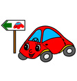 Toy car on green way vector