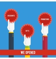 Grand opening - hands holding stickers vector