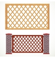 Wooden fence from crossed planking and with post vector