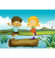 A girl and a boy above a trunk floating vector