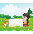 A girl holding an empty blank board with a rabbit vector