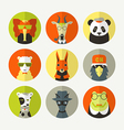 Set of stylized animal avatar vector