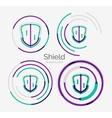 Thin line neat design logo shield icon set vector