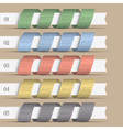 Five modern numbered ribbons banners vector