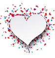 Paper heart love confetti sign vector
