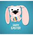 Retro easter paper background cute pink rabbit vector
