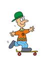 Young boy on skateboard vector