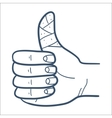 Repaired bandaged finger thumb up isolated on vector