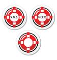 Life belt help icons set vector