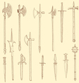 Weapon collection medieval weapons vector