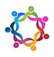 Teamwork in a hug in vivid colors logo vector