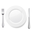 Knife fork white plate vector