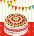 Birthday cake with kiwi vector