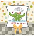 Crocodiles in lovevalentines day card vector