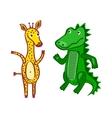 Giraffe crocodile file eps10 hand-drawn cartoon vector