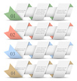 Four origami paper numbered banners vector