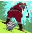 Golf backswing of santa claus vector