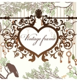 Vintage background with wrought heart frame and vector
