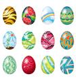 A dozen of colorful easter eggs vector