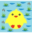 Duckling on a background of lake and reeds vector