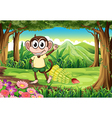 A smiling monkey at the forest with bananas vector