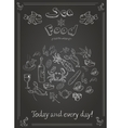 Set of hand drawn seafood on blackboard vector