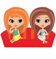 Girls cartoon talk on a sofa vector