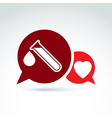 A red heart symbol and test tube with a b vector