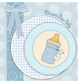 Baby shower card with bottle milk vector