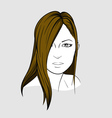 Face of woman with long straight hair vector