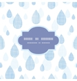 Abstract textile blue rain drops seamless frame vector