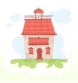 Fairy house with a tiled roof and a cockerel vector