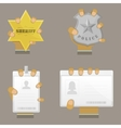 Mans hand holding different badges vector