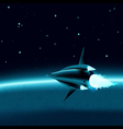 Space ship in front of a planet vector