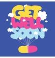 Get well soon postcard vector