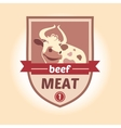 Logo with the image of a cow meat products vector