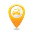 Car with satelite icon pointer yellow vector