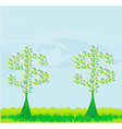 Money growing on trees - abstract card vector