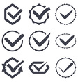 Set of nine different check marks vector