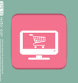 Monitor with symbol shopping cart icon online vector