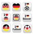 I love german football soccer buttons set vector
